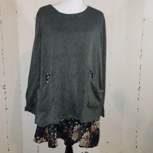 Zanzea XXXL  gray/floral Boho tiered tunic